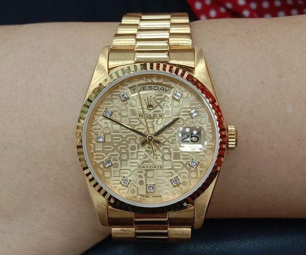 流當手錶拍賣 原裝 勞力士 18238 18K金 十鑽 紀念面 自動 男錶 盒單齊 9成9新 喜歡價可議 ZR467