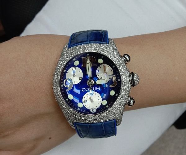 流當手錶拍賣 原裝 CORUM 崑崙 泡泡錶 鑽圈 鑽腳 計時 石英 男女錶 9成新 喜歡價可議 ZR468